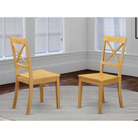 Boston X- back Chair for dining room with Wood Seat (Set of 2)