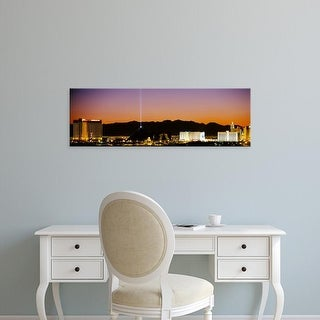 Easy Art Prints Panoramic Images's 'Buildings in a city lit up at night, Las Vegas, Nevada, USA' Premium Canvas Art