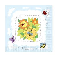 Club Pack of 192 Multi-Colored Garden Disposable 2-Ply Luncheon Napkins - Blue