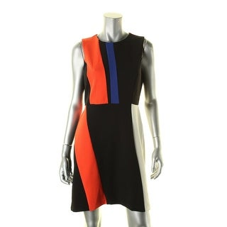 Vince Camuto Womens Petites Wear to Work Dress Modern Colorblock