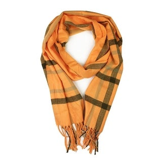 """Super Soft Luxurious Classic Cashmere Feel Winter Scarf - Orange - 72""""x12"""" with 16"""" fringes"""
