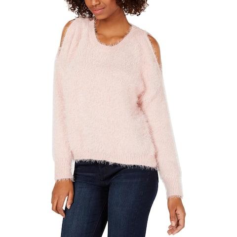 Ultra Flirt Womens Juniors Sweater Ribbed Cold Shoulder