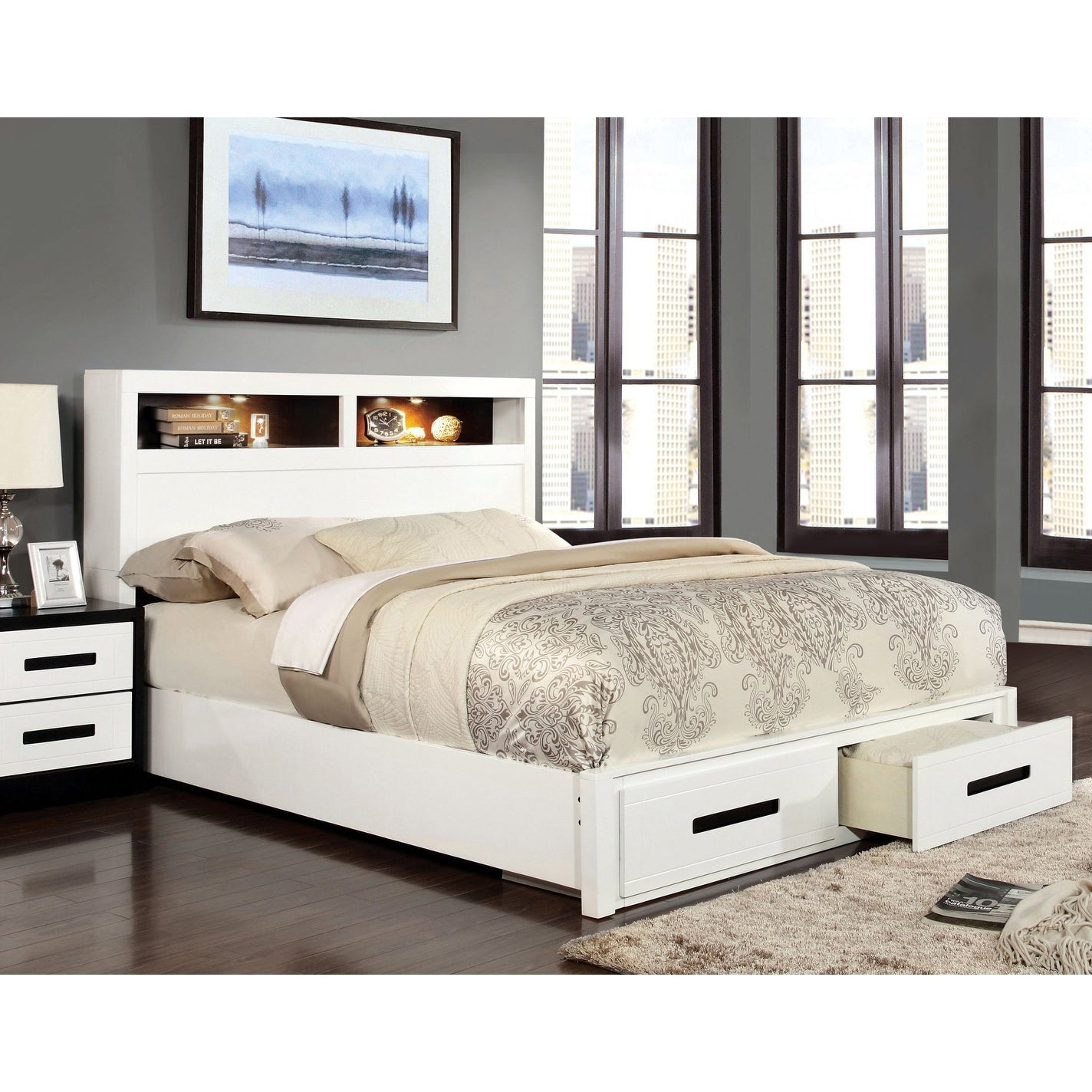 Furniture Of America Deas Modern White Solid Wood Storage Platform Bed Overstock 9978760