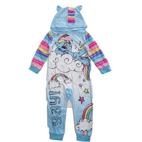 Hasbro Girls Blue White My Little Pony 1pc Zip Up Hooded Pajamas
