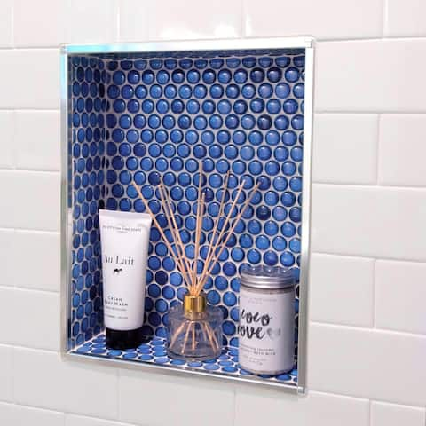 "SomerTile Hudson Penny Round Glossy Sapphire 12"" x 12.63"" Porcelain Mosaic Tile"
