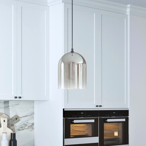 Marit Contemporary Pendant in Smoked Nickel Glass