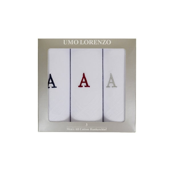 Men's 3 PC 100% Cotton Monogrammed Handkerchiefs Initial Letter Hanky - regular