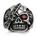 Stainless Steel Antiqued & Polished with Glass & Crystal Skull Ring - Sizes 9 - 12 - Thumbnail 0