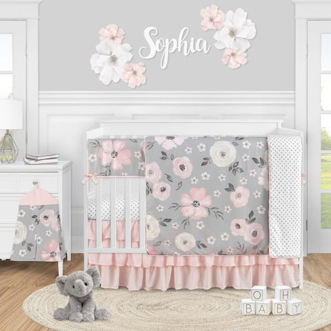 Grey Watercolor Floral Girl 5pc Nursery Crib Bedding Set - Blush Pink Gray White Shabby Chic Rose Flower Polka Dot Farmhouse