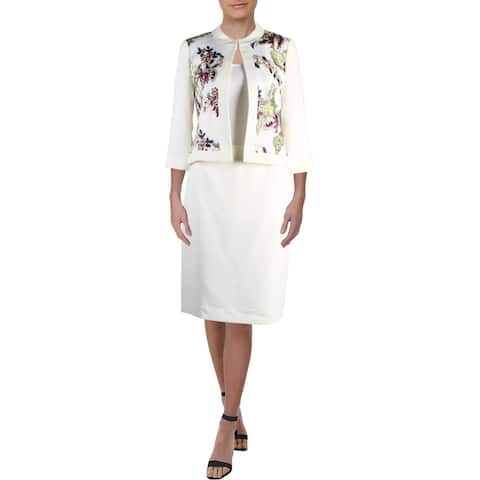 Tahari ASL Womens Skirt Suit Embroidered Office Wear
