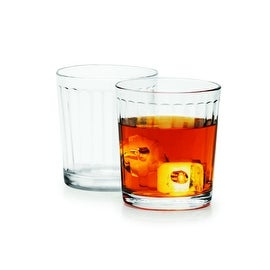 Palais Glassware Colonne Collection; High Quality Column Clear Glass Beverage Set (Set of 4 - 13 Oz DOF Glasses, Clear)