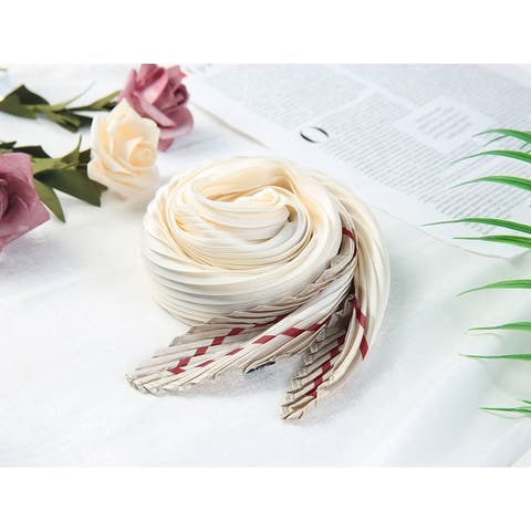 Women Pleated Rhombic Scarf Scarves Head Ribbon Bandana Solid Color - 96 x 43cm / 37.80 x 16.93 inches(L*W)