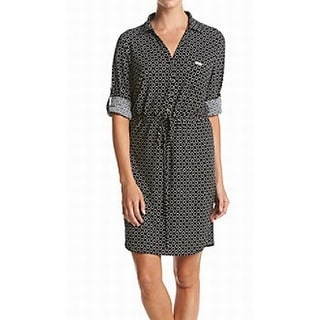 Tommy Hilfiger NEW Black Women's Size 14 Printed Tie Front Shirt Dress