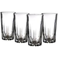Palais Glassware 'Diamant' Collection; High Quality Diamond Cut Glass Set (Set of 4 - 15 oz. Highbal