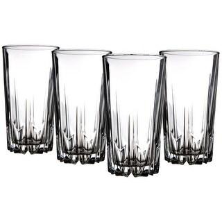 Palais Glassware 'Diamant' Collection; High Quality Diamond Cut Glass Set (Set of 4 - 15 oz. Highbal
