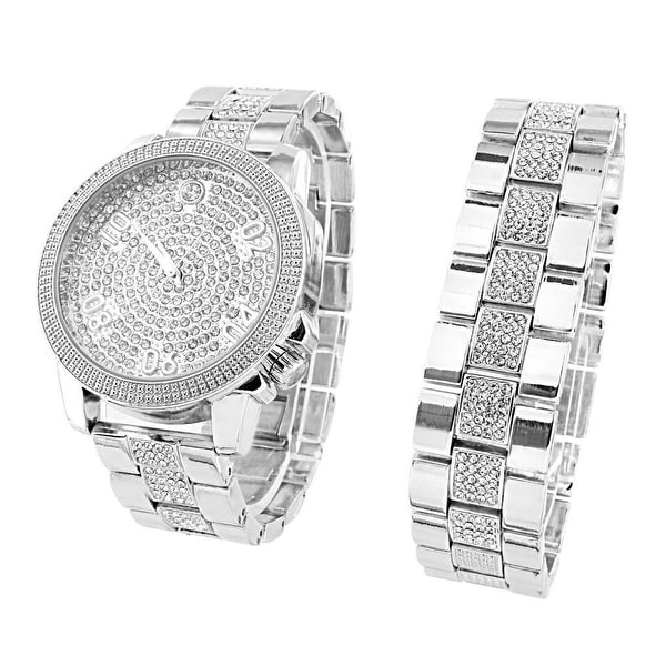 Bling Master Watch Iced Out Stainless Steel Back Lab  Diamond Bracelet Set