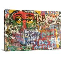 Premium Thick-Wrap Canvas entitled Detail of graffiti on John Lennon Wall, Mala Strana.