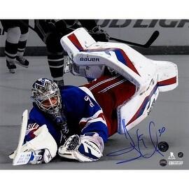 Henrik Lundqvist Signed New York Rangers 'Spotlight' Diving Stick Save 8x10 Photo