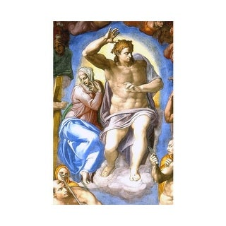 Easy Art Prints Michelangelo's 'Christ and Mary, Sistine Chapel' Premium Canvas Art