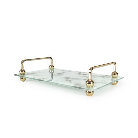 Rectangle Marble Look Glass Decorative Tray with Gold Handles