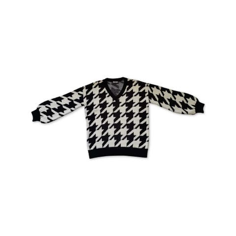BAR III Womens Black Houndstooth Long Sleeve V Neck Sweater Size S