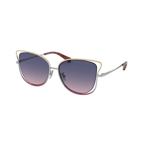 Coach HC7106 9340I6 55 Shiny Bronze/silver/pink Woman Irregular Sunglasses - Bronze / Silver / Pink