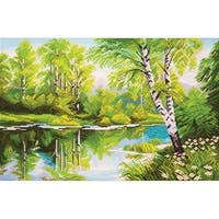 Collection D'art Stamped Cross Stitch Kit 37X49cm-Birches By The Lake