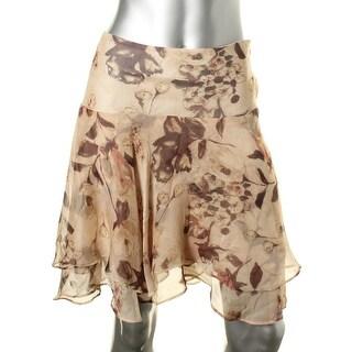 Lauren Ralph Lauren Womens Petites Chiffon Floral Print A-Line Skirt - 6P