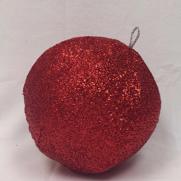 "15"" Sparkly Red Inflatable Tinsel Ball Commercial Christmas Ornament"