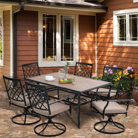 PHI VILLA Outdoor Patio Dining Set of 7 Steel Furniture Set, 6 Swivel Chairs with 1 Rectangular Umbrella Wood Like Table