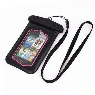 Unique Bargains Waterproof Bag Holder Pouch Pink for iPhone 4G Plus w Neck Strap