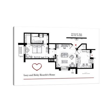 "iCanvas ""Apartment From I Love Lucy"" by TV Floorplans & More Canvas Print"