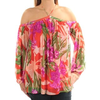 INC $64 Womens New 1457 Orange Purple Floral Cold Shoulder Long Sleeve Top L B+B