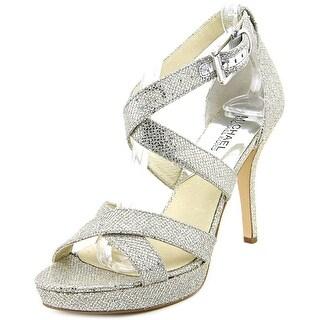 Michael Michael Kors Evie Platform Women Open Toe Canvas Silver Platform Heel