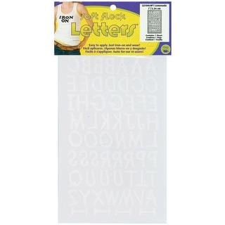 "Soft Flock Iron-On Letters 1"" Lemonade-White - White"