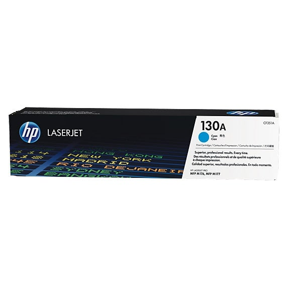 HP 130A Cyan Original LaserJet Toner Cartridge (CF351A)(Single Pack)