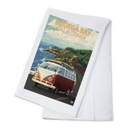 Bodega Bay, CA - VW Van Coastal - LP Artwork (100% Cotton Towel Absorbent)