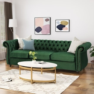 Link to Somerville Chesterfield Tufted Velvet Sofa by Christopher Knight Home Similar Items in Living Room Furniture