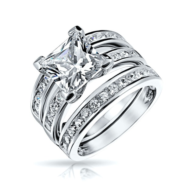 a5ae4f5ec1019 Shop 2 CT Square Solitaire Princess Cut AAA CZ Pave Band Guard ...