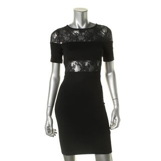 French Connection Womens Ponte Lace Inset Cocktail Dress - 2
