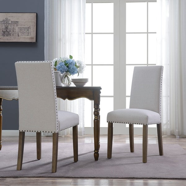 Shop Belleze Set Of 2 Dining Chairs Linen Armless