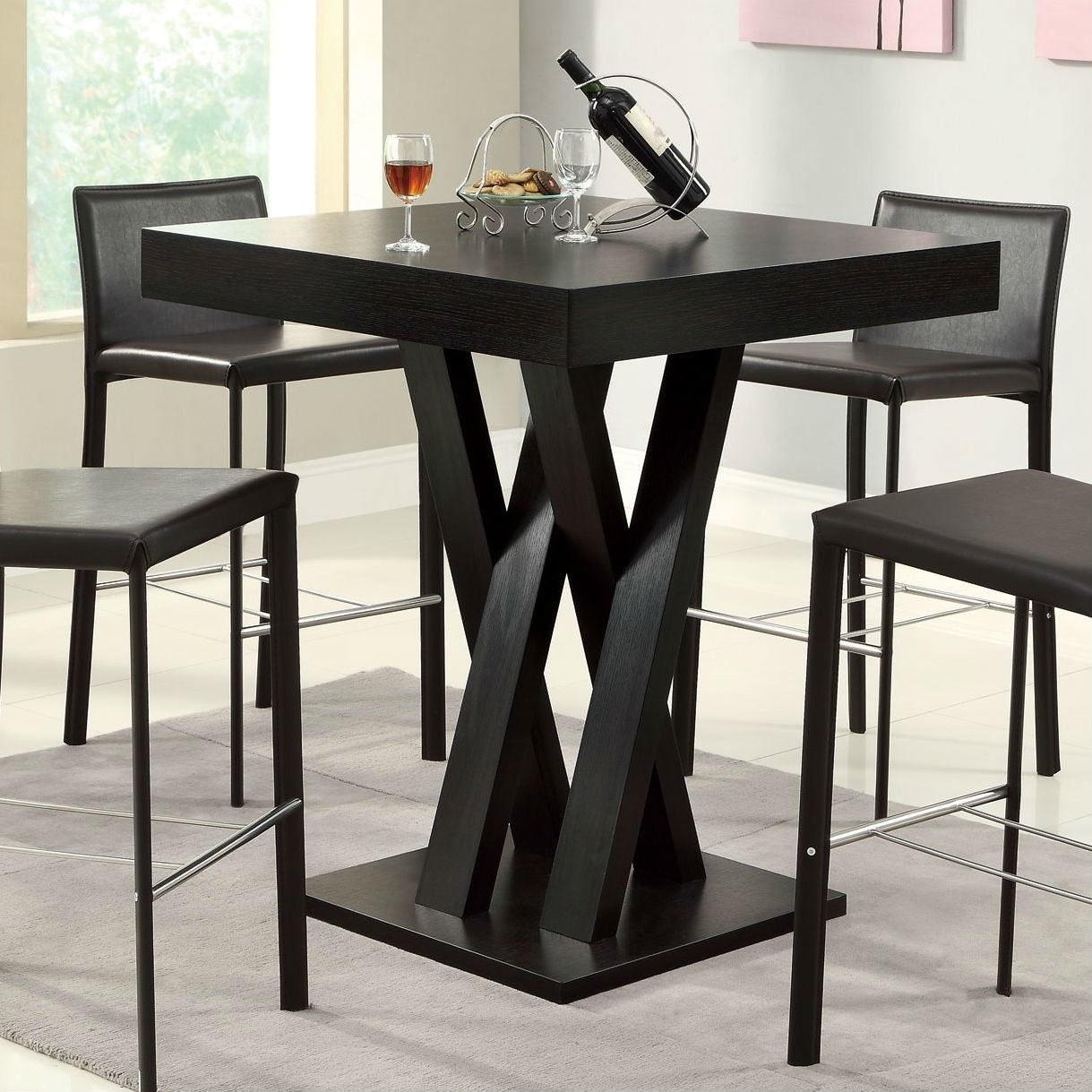 Modern 40 Inch High Square Dining Table In Dark Cappuccino Finish Pictured Overstock 29063423