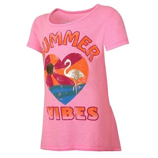 Hanes Girls' Summer Vibes Peplum Tee - Size - L - Color - Summer Vibes/Neon Pink Pop Heather