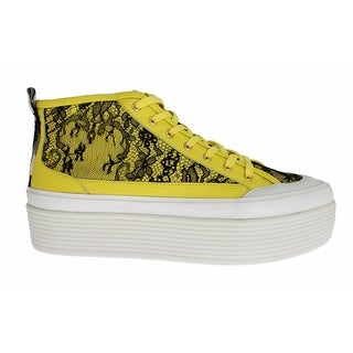Dolce & Gabbana Yellow Leather Floral Lace Sneakers Shoes - 39