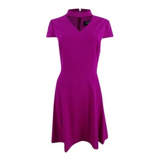 Tahari ASL Women's Petite Choker Fit & Flare Dress - magenta