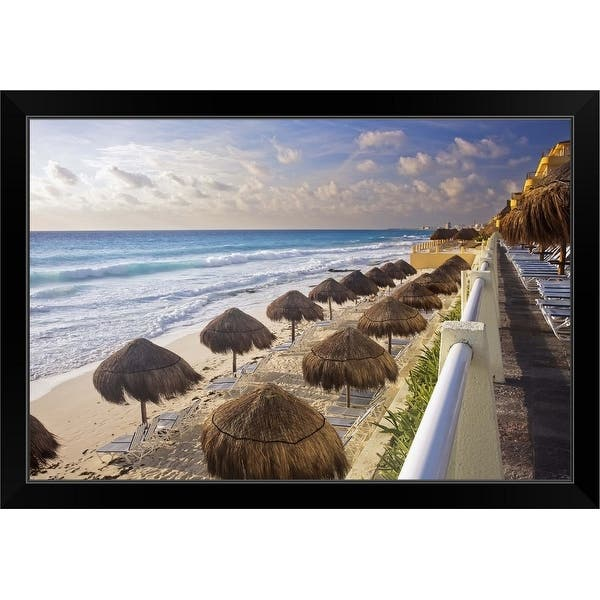 Shop The Turquoise Waters And White Sand Beaches Of Cancun Black Framed Print Free Shipping Today Overstock 30191123