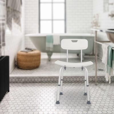 Aluminium Alloy Bath Chair Seat Bench with Removable Back