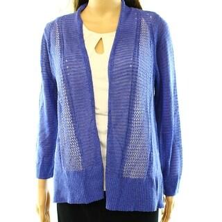 Alfani NEW Blue Womens Size Medium M Pointelle-Knit Cardigan Sweater