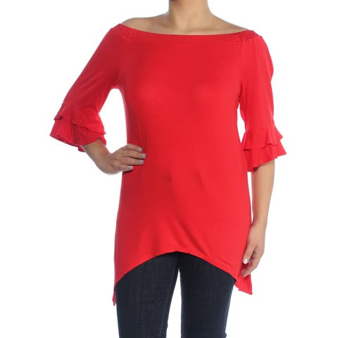NY COLLECTION Womens Red Bell Sleeve Off Shoulder Hi-Lo Top Size: S