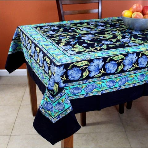 French Floral Print Cotton Tablecloth for Square Tables 60 x 60 inches Black Blue Green Amber